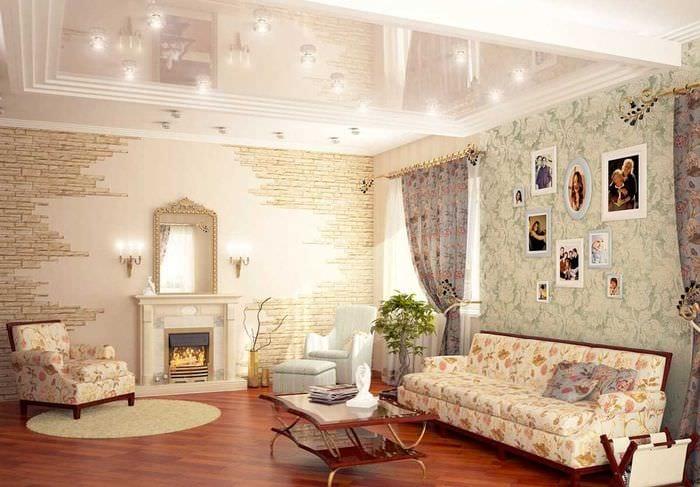идея оригинального оформления стен в гостиной