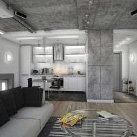 вариант необычной декоративной штукатурки в дизайне гостиной под бетон картинка