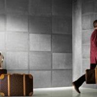 вариант оригинальной декоративной штукатурки в интерьере спальни под бетон картинка