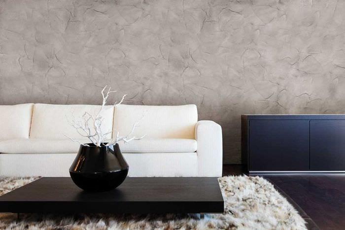 вариант яркой декоративной штукатурки в стиле спальни под бетон