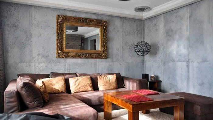 вариант оригинальной декоративной штукатурки в дизайне гостиной под бетон