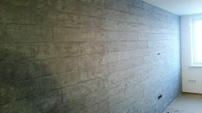 вариант необычной декоративной штукатурки в дизайне спальни под бетон