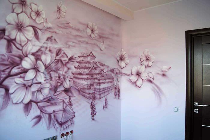 идея красивого интерьера комнаты с декоративным рисунком на стене