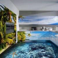 идея современного интерьера комнаты с декоративным рисунком на стене картинка