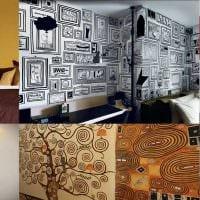 идея необычного дизайна квартиры с декоративным рисунком на стене картинка