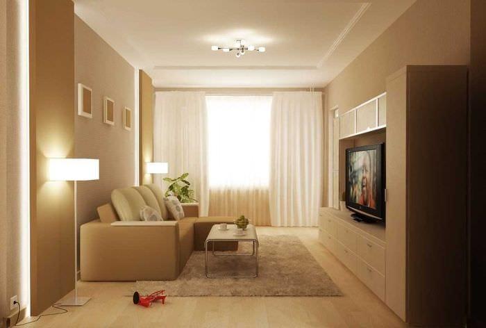 вариант красивого стиля гостиной комнаты 17 кв.метров