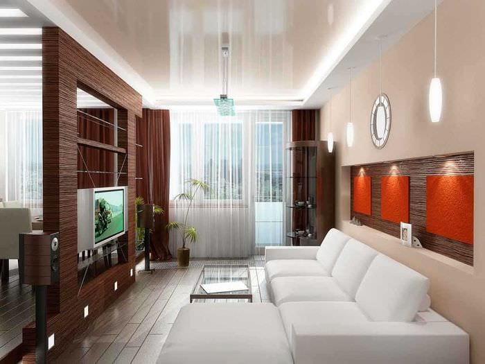 идея оригинального дизайна гостиной комнаты 17 кв.метров