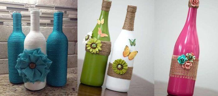 декор стеклянных бутылок фото хорошо жить