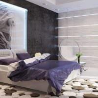 идея яркого декорирования интерьера спальной комнаты фото