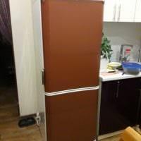 идея яркого украшения холодильника на кухне фото