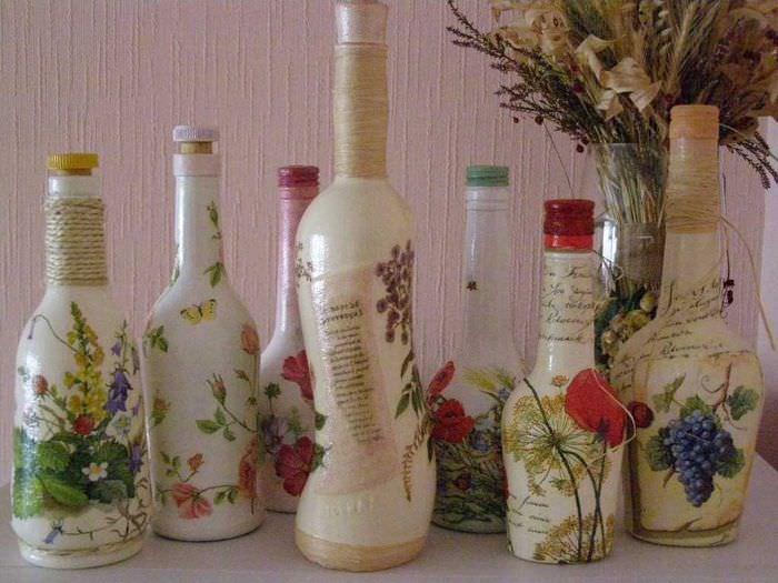 идея оригинального декорирования бутылок красками