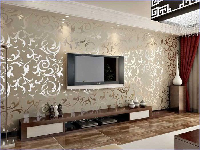 идея необычного декорирования стен в гостиной