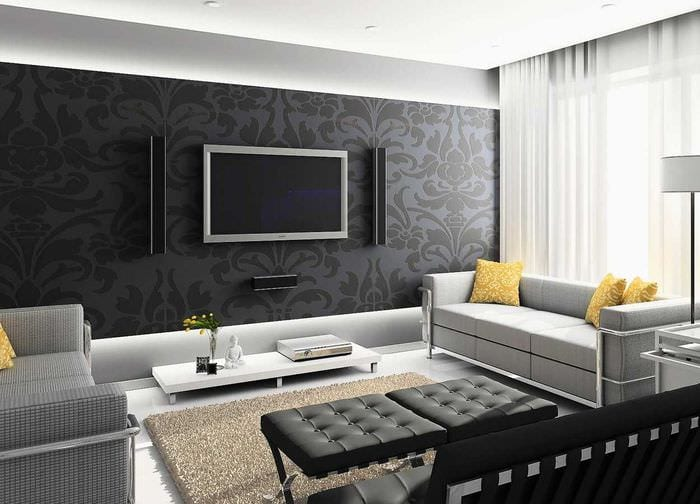 вариант необычного декорирования интерьера гостиной