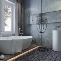 идея необычной декоративной штукатурки в дизайне гостиной под бетон картинка