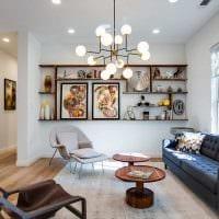 идея светлого интерьера гостиной комнаты в современном стиле картинка