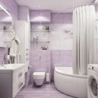 вариант современного дизайна ванной комнаты с угловой ванной фото