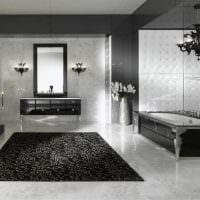 идея необычного дизайна ванной в черно-белых тонах фото