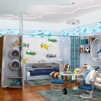 вариант необычного стиля детской комнаты для двух мальчиков картинка