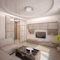 вариант светлого стиля зала в частном доме фото