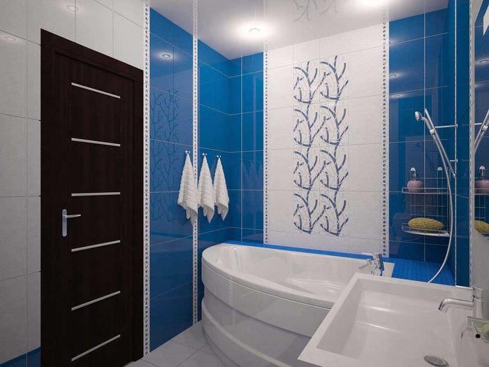 вариант современного стиля ванной с угловой ванной