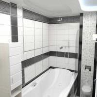 вариант яркого дизайна ванной комнаты в черно-белых тонах фото
