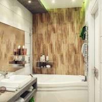 вариант красивого стиля ванной с угловой ванной фото