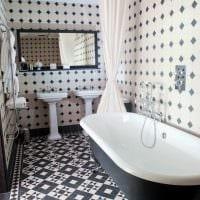 вариант красивого дизайна ванной в черно-белых тонах фото