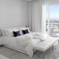 вариант красивого дизайна белой спальни картинка