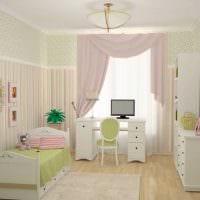 идея светлого интерьера детской комнаты фото