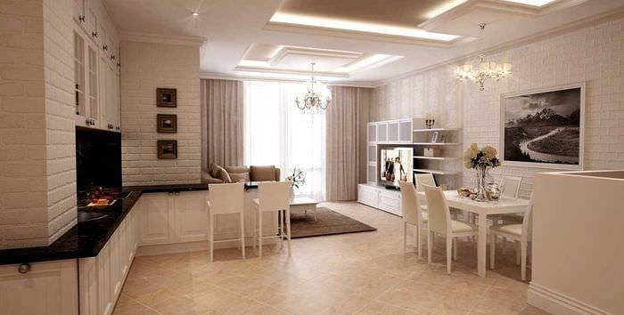 вариант яркого дизайна квартиры в светлых тонах в современном стиле
