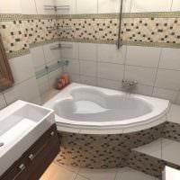 вариант необычного интерьера ванной с угловой ванной фото