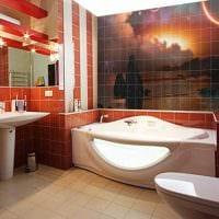 идея яркого дизайна ванной комнаты с угловой ванной картинка