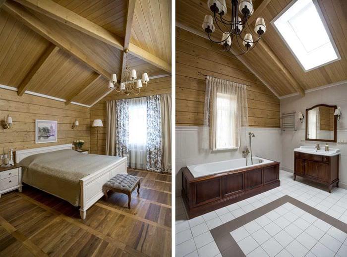 идея яркого дизайна ванной комнаты в деревянном доме