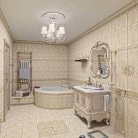 идея светлого дизайна ванной в классическом стиле фото