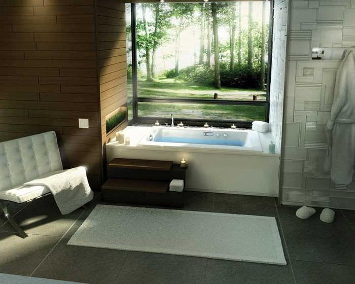 идея современного стиля ванной с окном
