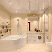 вариант красивого дизайна ванной с угловой ванной картинка