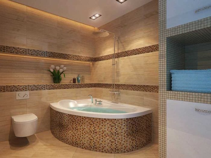 идея необычного дизайна ванной с угловой ванной