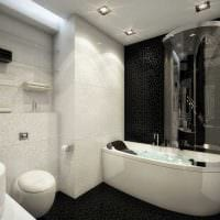 идея современного стиля ванной комнаты в черно-белых тонах картинка