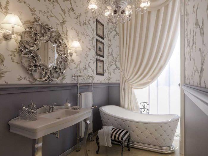 вариант яркого дизайна ванной комнаты в классическом стиле
