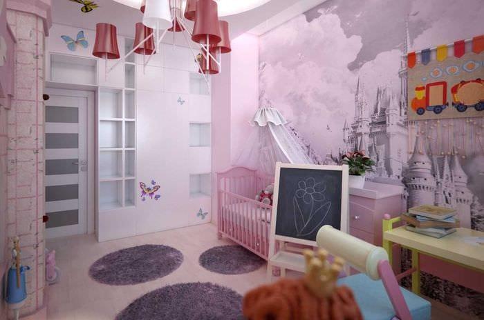 идея необычного декора детской для девочки
