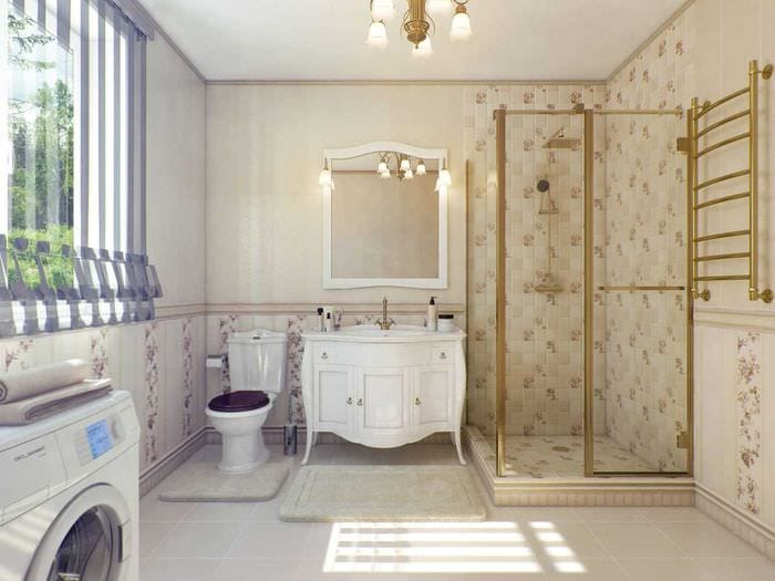 идея красивого декора ванной в классическом стиле