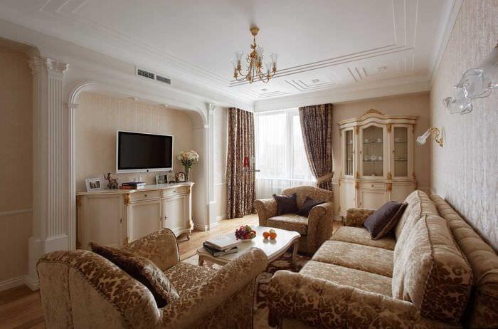 идея необычного дизайна комнаты в стиле современная классика