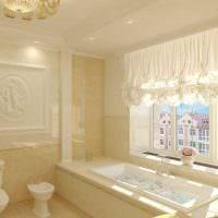 вариант необычного дизайна ванной комнаты с окном фото