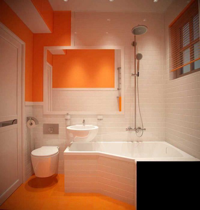 вариант красивого дизайна ванной комнаты с угловой ванной