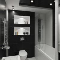 вариант необычного стиля ванной в черно-белых тонах фото