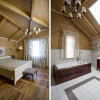 вариант современного дизайна ванной комнаты в деревянном доме картинка