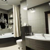 идея красивого дизайна ванной комнаты с угловой ванной фото