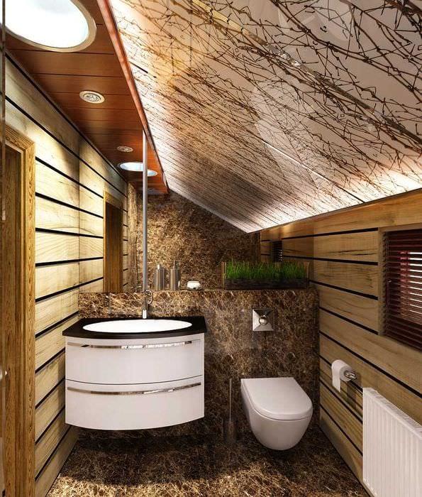 Отделка санузла в деревянном доме фото
