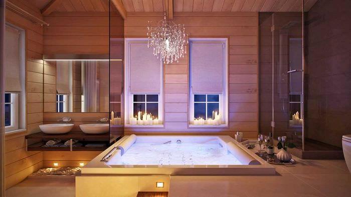 вариант необычного интерьера ванной в деревянном доме