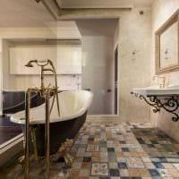 вариант яркого интерьера большой ванной фото